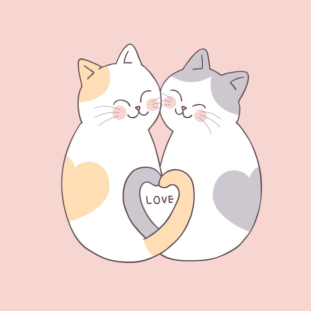 Cartoon Cute Valentines Day Couple Cats Vector Premium Vector