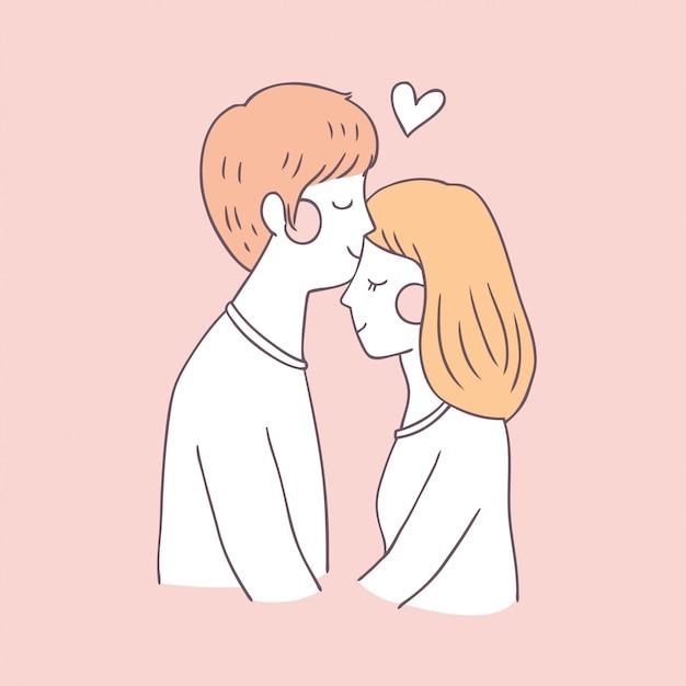 Cartoon cute valentines day couple kiss vector. Premium Vector