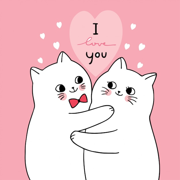 Cartoon cute valentines day white cats lover vector. Premium Vector