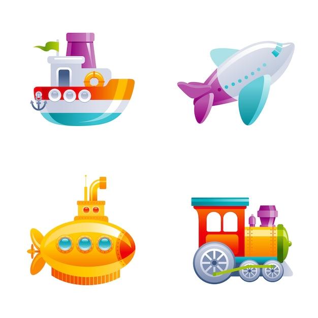 男の子のための漫画かわいいベクトルおもちゃ輸送セット。赤ちゃんのおもちゃセット。漫画のボート、飛行機、黄色のサブマリン、電車。 Premiumベクター