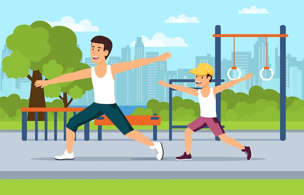 Cartoon dad and son do sports on playground Premium Vector