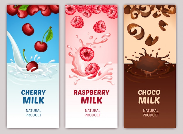 Cartoon dairy products vertical banners Free Vector