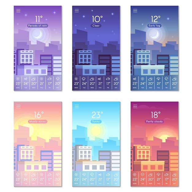 Cartoon daytime phone wallpaper with city buildings, sun, moon and stars sky. Premium Vector