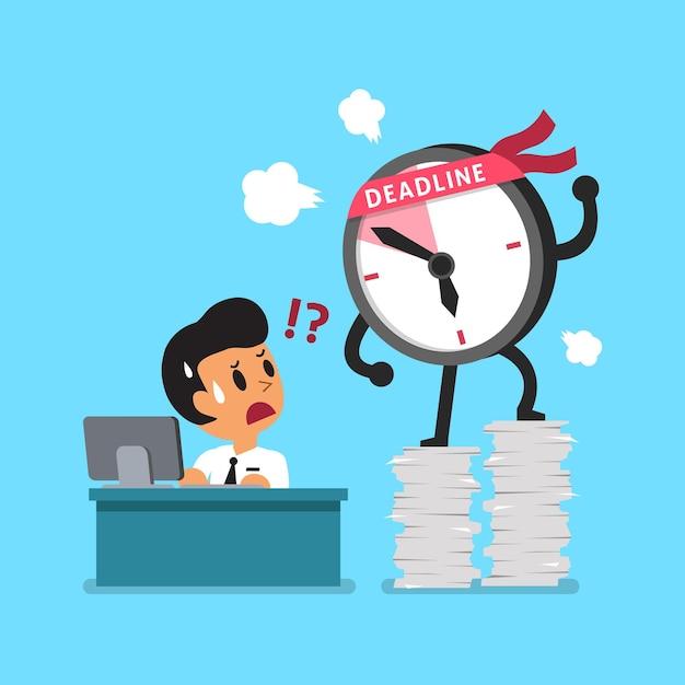 Мультяшный крайний срок часы персонаж и бизнесмен Premium векторы