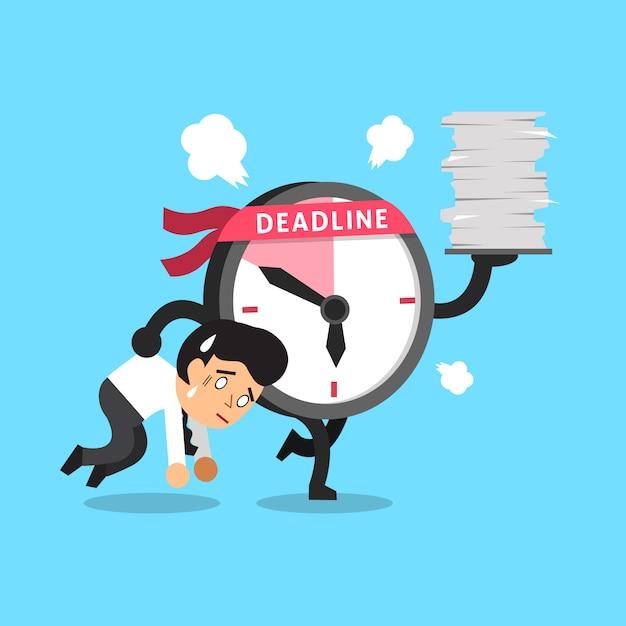 Cartoon deadline clock character and a businessman Premium Vector
