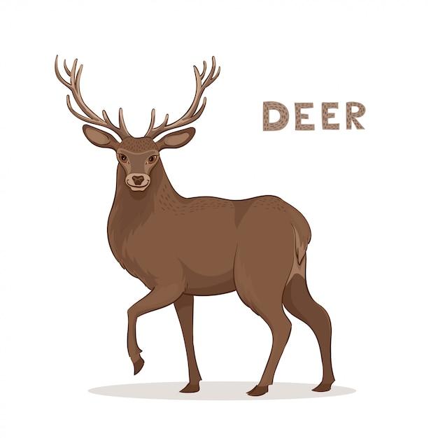A cartoon deer with long horns Premium Vector