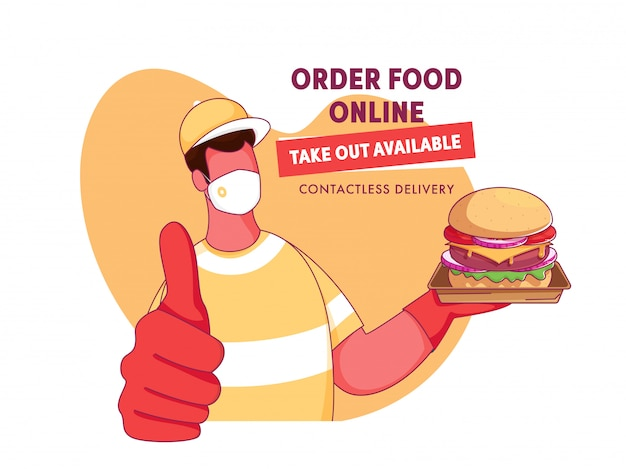 Cartoon delivery boy wear a face mask with presenting burger and given message as order food online, take out available, contactless delivery. Premium Vector