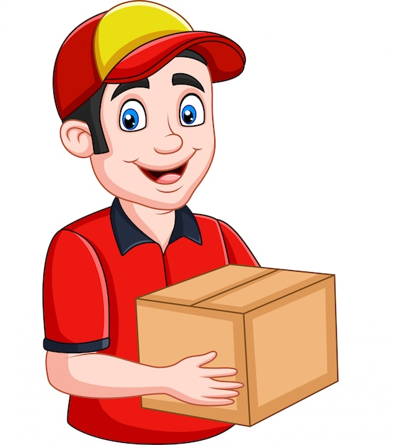 Cartoon delivery courier holding cardboard boxes Premium Vector
