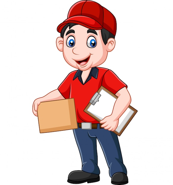 Cartoon delivery courier Premium Vector