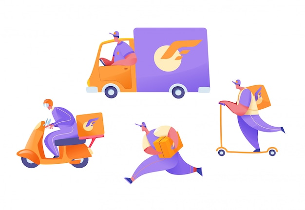 Cartoon delivery couriers on cargo van, scooter, motorbike and on foot with parcels set. delivery se