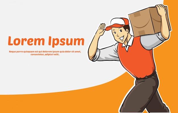 Cartoon delivery man in orange uniform banner Premium Vector