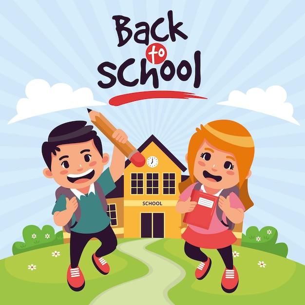 Cartoon design children back to school Free Vector