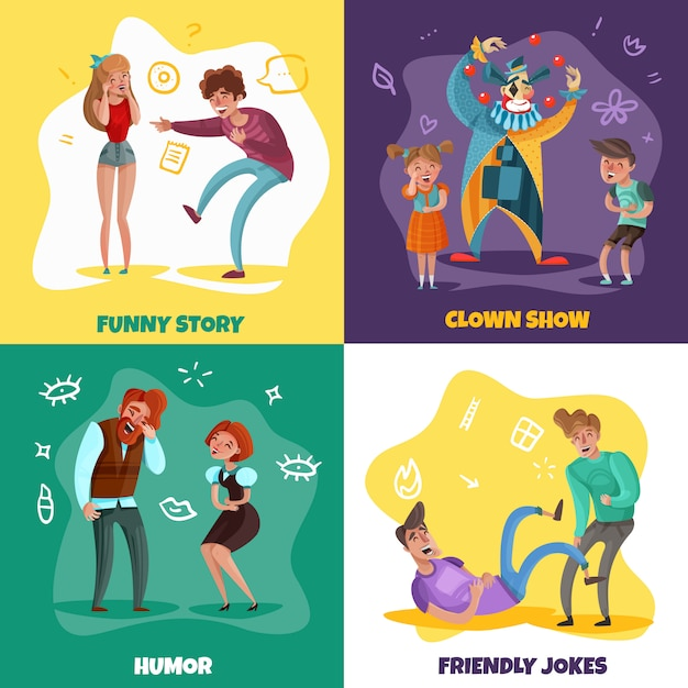 Cartoon design concept with people laughing at funny stories and clown show isolated on colorful Free Vector