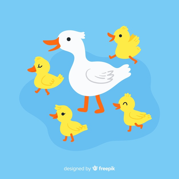 Cartoon design with duck and ducklings Free Vector