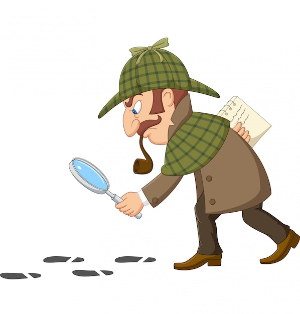 Cartoon of a detective investigate following footprints | Premium ...