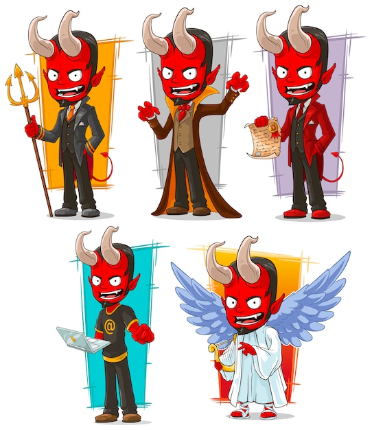 Cartoon devils and evil angel character set vector premium download - Free evil angel pictures ...