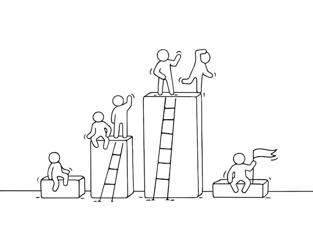 ほとんどの人が働いて漫画diagramm。かわいいミニチュアチームワークを落書き。ビジネスデザインとインフォグラフィックの手描きイラスト。 Premiumベクター