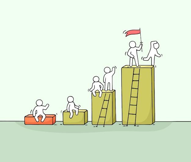 Диаграмма шаржа с рабочими маленькими людьми. doodle милая миниатюрная работа в команде. рисованной векторные иллюстрации для бизнес-дизайна и инфографики. Premium векторы