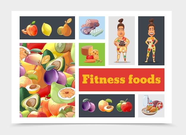 Composizione variopinta di dieta del fumetto con frutta e illustrazione delle donne grasse e atletiche Vettore gratuito