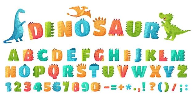 만화 디노 글꼴. 공룡 알파벳 문자와 숫자 프리미엄 벡터