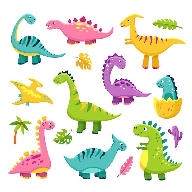 Cartoon Dinosaur Cartoon Cute Baby Dino Triceratops Prehistoric Wild Animals Brontosaurus Dinosaurs Funny Characters Premium Vector