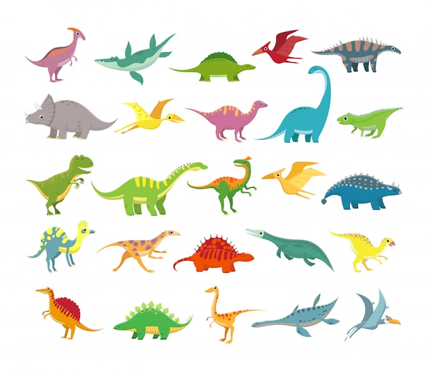 Cartoon dinosaurs. baby dino prehistoric animals. cute dinosaur vector collection Premium Vector