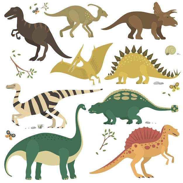 Cartoon dinosaurs set Premium Vector