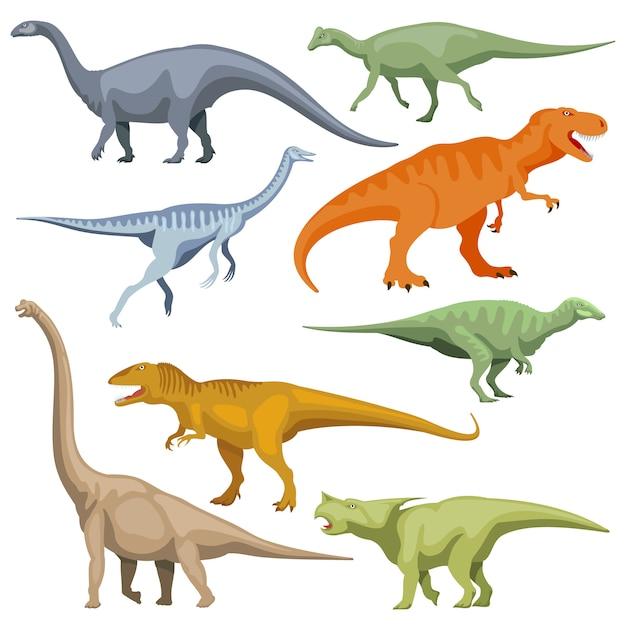 Cartoon dinosaurus, reptiles vector set Premium Vector