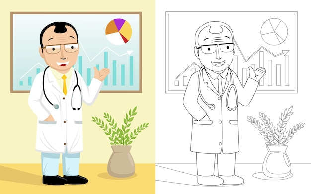 Cartoon of doctor giving presentation in a room Premium Vector