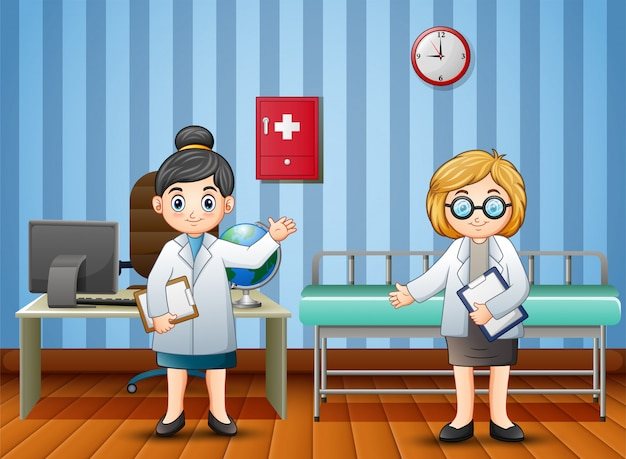 Cartoon doctor and nurse in the hospital Premium Vector