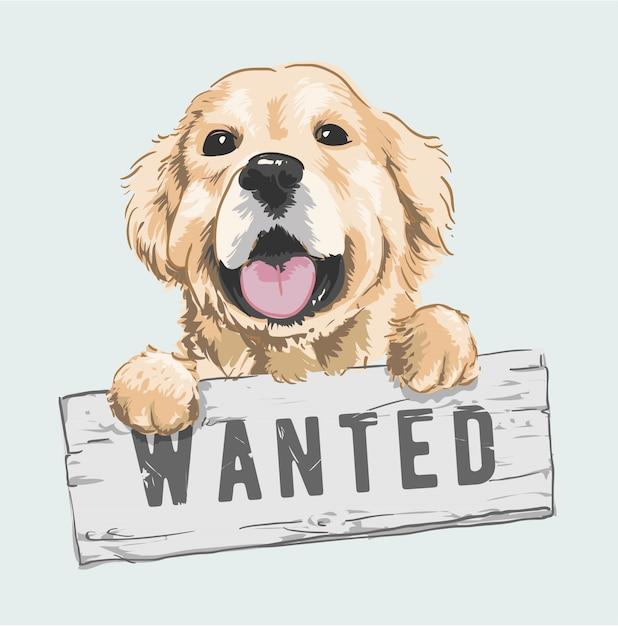 Cartoon dog holding wanted sign illustration Premium Vector