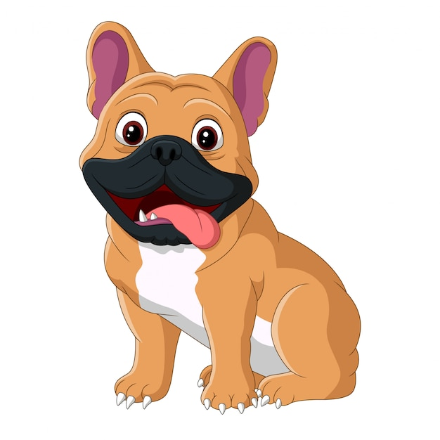 舌を出して座っている漫画の犬 Premiumベクター