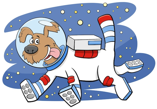 Cartoon dog in space comic animal character Premium Vector