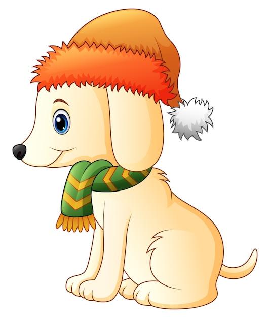 Cartoon dog wearing a scarf and santa hat Premium Vector
