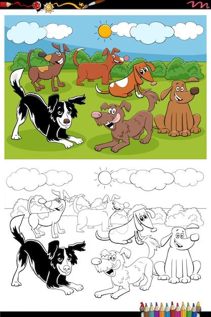 Раскраска мультяшная группа собак Premium векторы