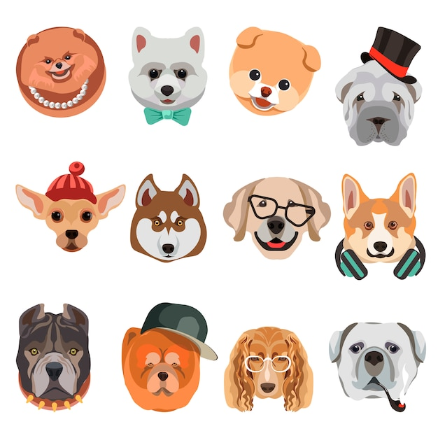 Cartoon dogs and hipster puppy face muzzles vector icons Premium Vector