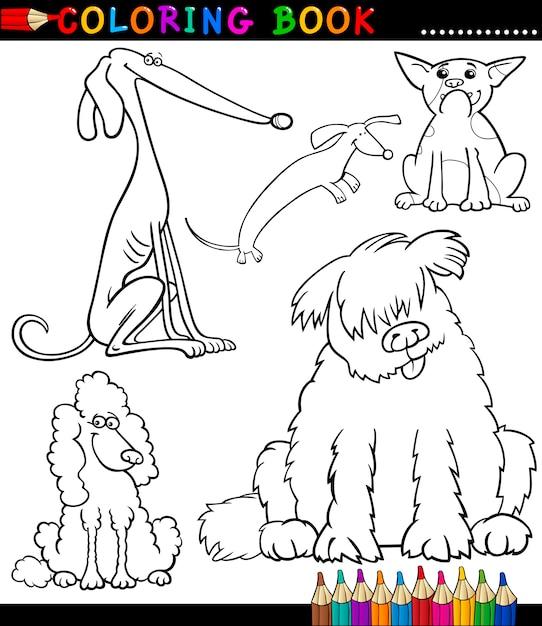 Мультяшные собаки или щенки для раскраски Premium векторы