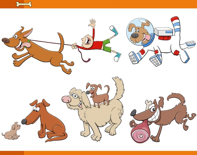 Cartoon dogs and puppies animal characters set Premium Vector