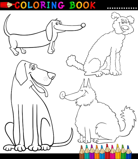 Premium Vector Cartoon Dogs Or Puppies Coloring Page