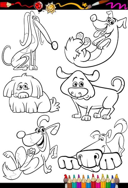 Мультяшные собаки для раскраски Premium векторы