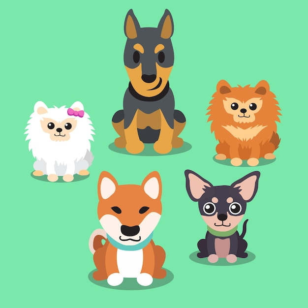 Cartoon Dogs Standing Collection Premium Vector