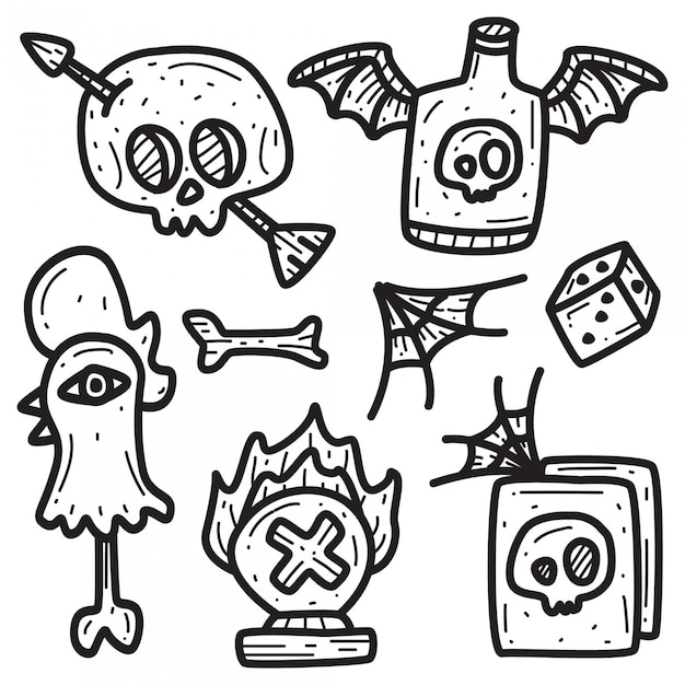 Шаблон татуировки каракули мультфильм Premium векторы