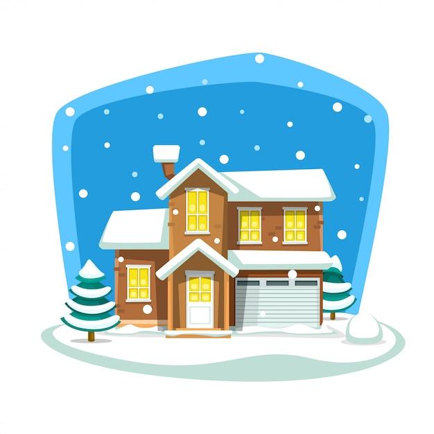 Cartoon doodle winter big house neighborhood scene Premium Vector