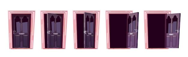 Анимация последовательности движения открытия двери мультфильма Бесплатные векторы
