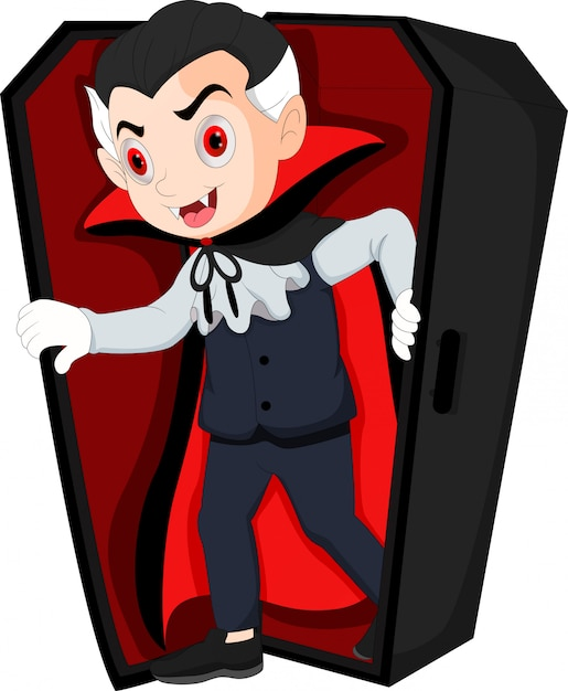 Cartoon dracula waking up in coffin Premium Vector