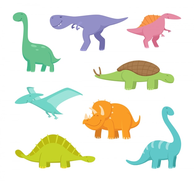 Cartoon dragons and dinosaurs Premium Vector