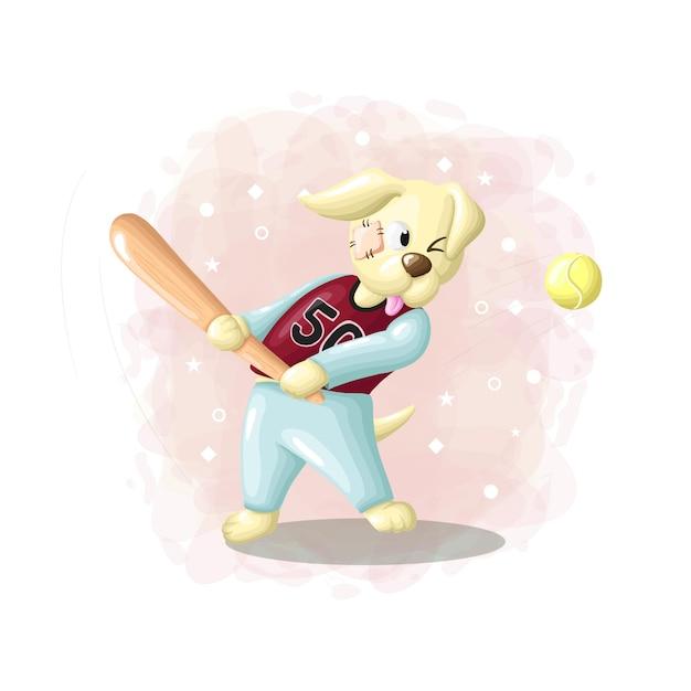 Cartoon drawing dog playing baseball illustrations vector Premium Vector