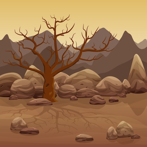 Cartoon dry stone desert landscape with bare tree and mountains Premium Vector