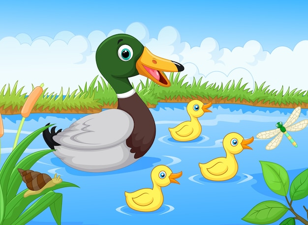 Cartoon duck family Premium Vector