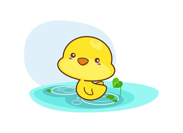 Cartoon duck swimming on a white background Premium Vector